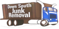menu logo of a blue and brown dunp truck for Down South Junk Removal